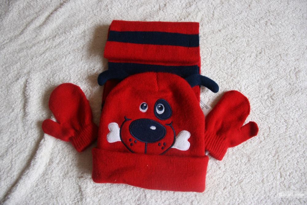 Комплект шапочка с мордочкой + шарф+варежки.