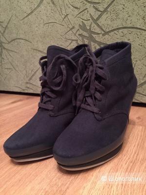 Новые синие сникеры Adidas оригинал текстиль + нат.кожа на российский размер 37-37.5