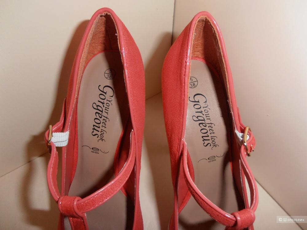 Продам новые коралловые туфли New Look, размер 5 UK.