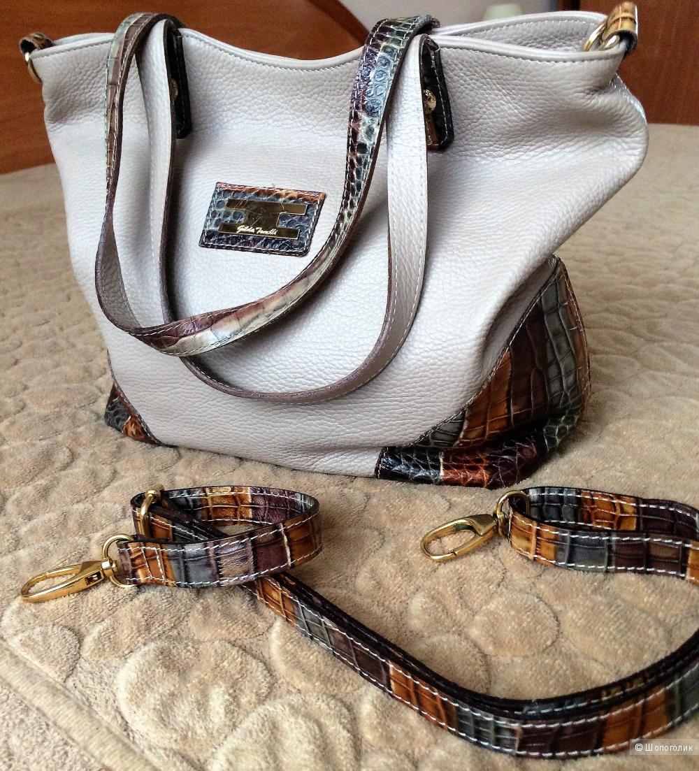 Бежевая, легкая, вместительная сумка из мягкой кожи на молнии,  итальянская, фирма GILDA TONELLI