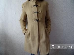 Пальто дафлкот в цвете camel с капюшоном, Zara, размер 44-46, б/у