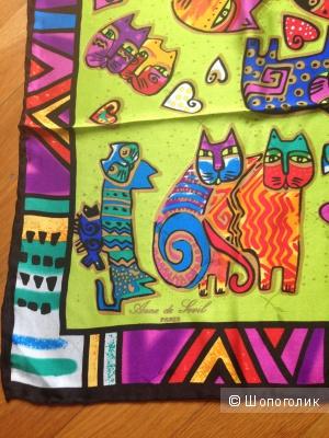 Новый шёлковый платок с рисунком Кошки, размер 85х85 см
