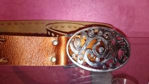 Ремень женский золотисто-коричневый, кожаный, 85 см