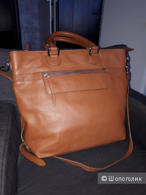 Большая сумка Global Accessories коньячного цвета из натуральной кожи