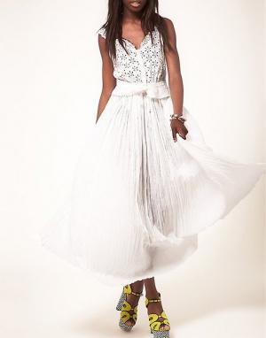 """Летняя белая макси юбка """"в пол"""" ASOS Crinkle, р-р 44-46. На высокий рост!"""