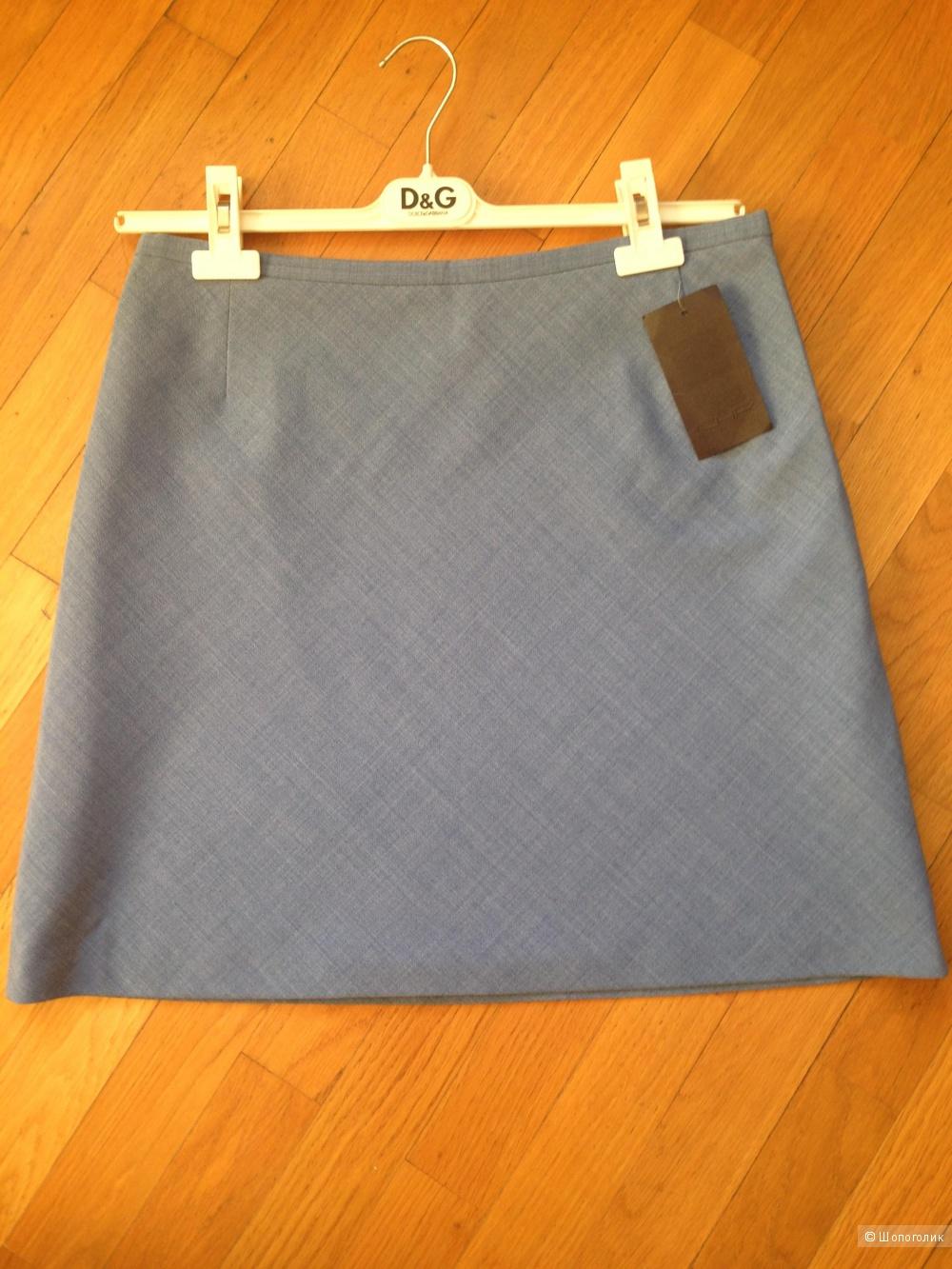 Новая базовая серо-голубая юбка А-силуэта, CHR,  р.48-50