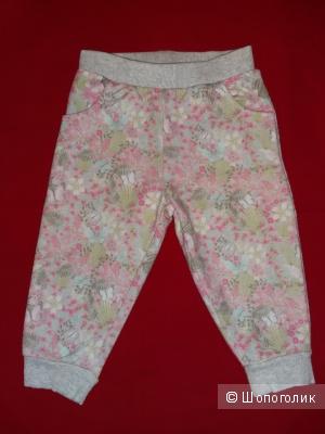 Трикотажные брюки, Mothercare, с цветочным принтом, р.6-9 мес, б/у