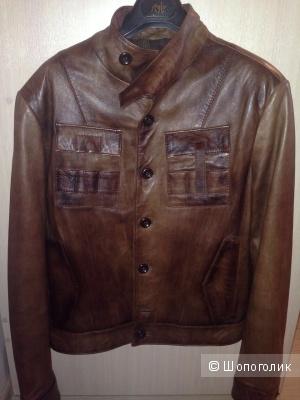 Куртка кожаная мужская коричневая б-у размер М