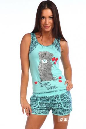 Новый домашний костюм-пижама майка с шортами, р.48-50