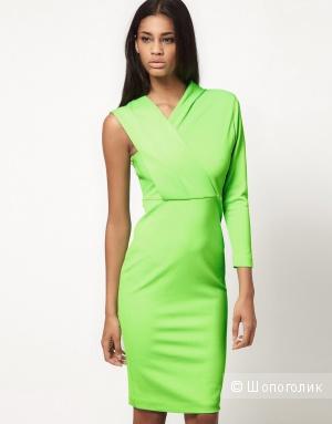 Платье миди с одним рукавом, ярко-зеленое UK10 Aqua