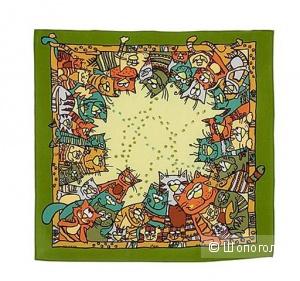 """Павловопосадский шейный платок """"Мартовские коты"""", 52х52 см, шёлк, цвет зелёный"""