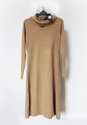 Трикотажное платье M&Co, бежевое, М,