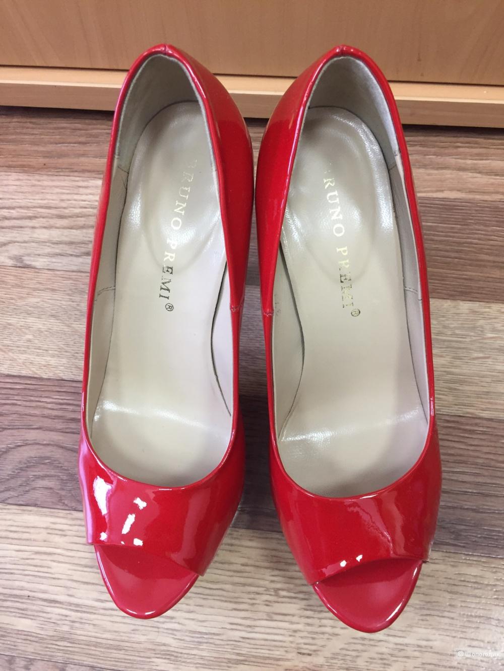 Красные туфли-лодочки Bruno Premi Италия оригинал нат. кожа 37 евро б.у 1 раз