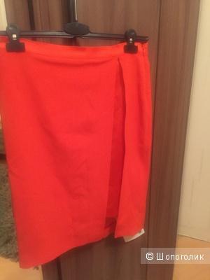 Юбка новая, до колена, красивый оранжевый цвет
