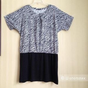 Трикотажное черно-белое платье-туника UNIQLO, р.XL