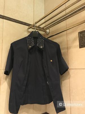 Темно-синяя рубашка Gizia размер 36 со стразами Swarovski одета 1 раз Оригинал