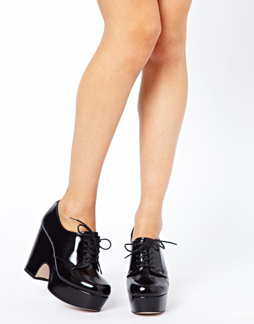 Asos Penny Lane Lace Up Platforms in Black (UK7)