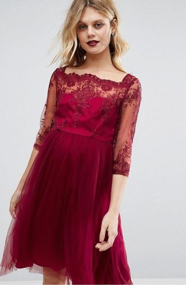 Платье-премиум для беременных с вышивкой и юбкой из тюля Chi Chi London Maternity, сама носила не в положении.