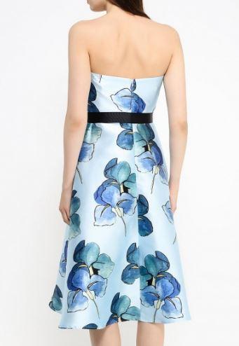 Нарядное голубое атласное платье, б/у 1 раз, размер М.