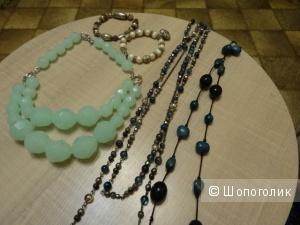 Ожерелье, бусики, браслеты - комплектом, б/у