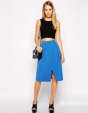 Новая синяя юбка-миди с запахом