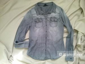 Джинсовая рубашка серая HM 38eur