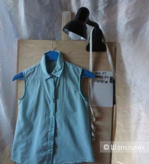 Блуза без рукавов небесно- голубого цвета, 42 размер