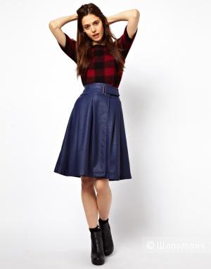 Новая синяя юбка-миди с запахом «под кожу» М