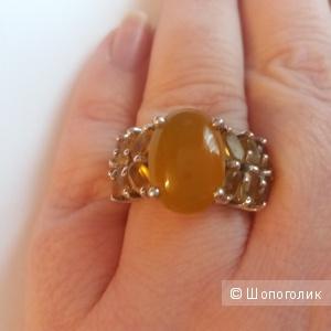 Серебряное кольцо с опалом и цитринами