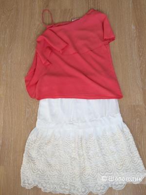 Асимметричная блуза Zara с воланом, размер 44-46