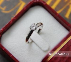 Шикарное кольцо из белого золота с чистейшим бриллиантом 1/3 вес 0,57 карат. 16,5 размер