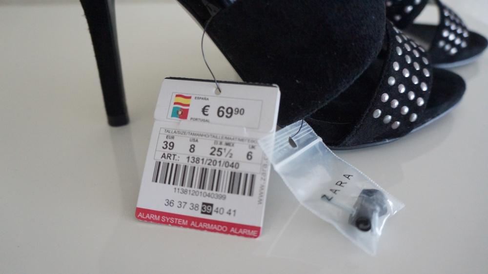 Замшевые босоножки Zara, размер 39