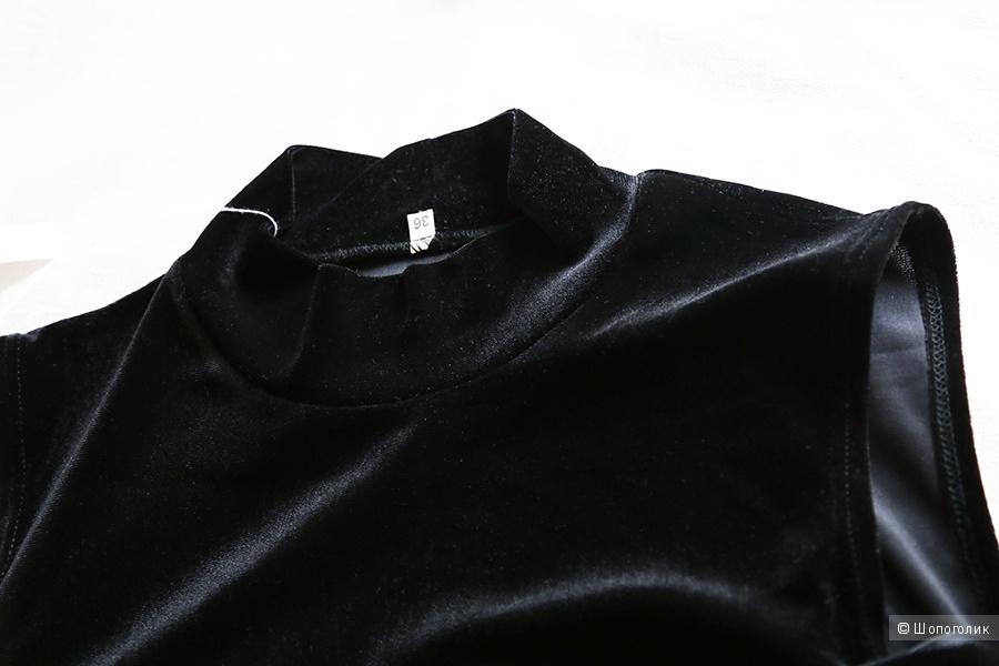 Бархатное черное платье S-M