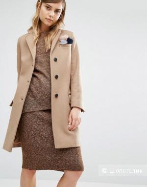 Бежевое шерстяное пальто Gloverall Coat S