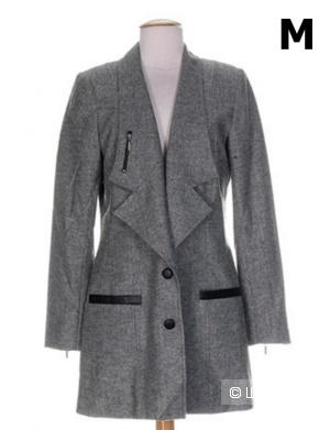 Пальто женское Lauren Vidal с глубоким вырезом шерстяное серое весна/осень рос. размер 46 (М)