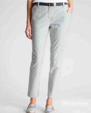 Летние женские брюки-сигареты Cyrillus Paris новые белые в полоску 7/8 рос. 48 (L)