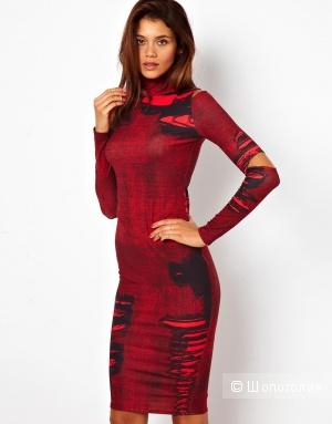 Новое платье миди красно-черное с вырезами UK12