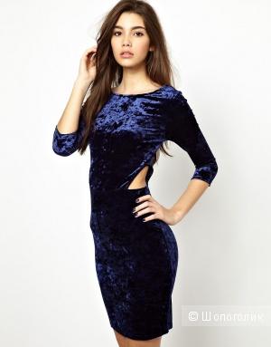 Новое синее бархатное платье UK12, New look