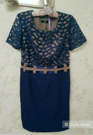 Красивое новое синее платье-футляр с коротким рукавом размер 46 (русский)