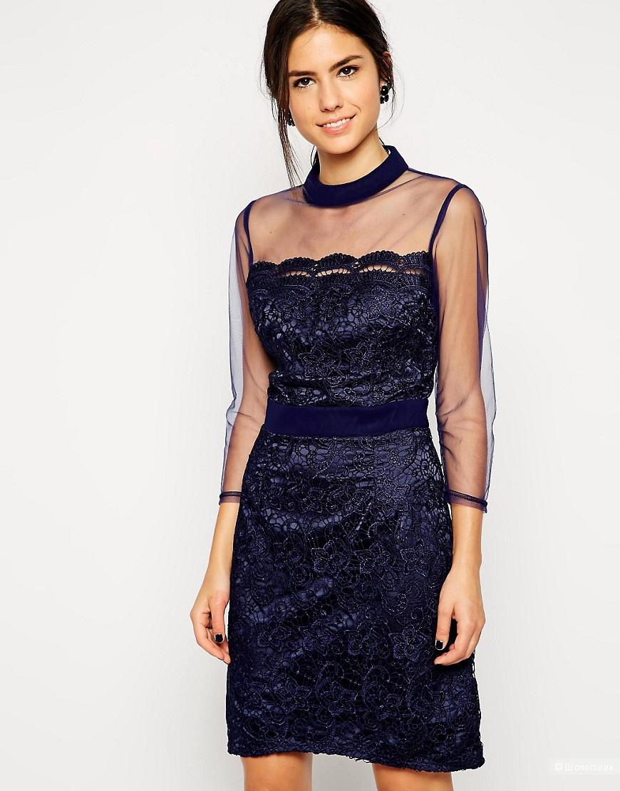 Новое синее кружевное платье Little Mistress, UK12