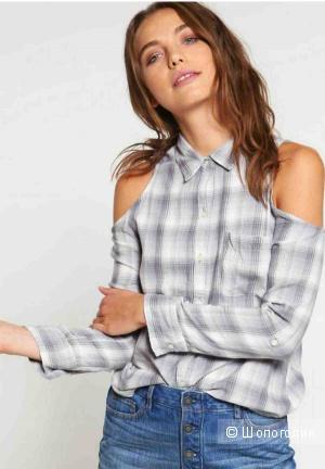 Серая женская рубашка Hollister с открытыми плечами р. 46 (М)