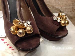 MARNI брендовые красивейшие туфли замша р.39 новые оригинал