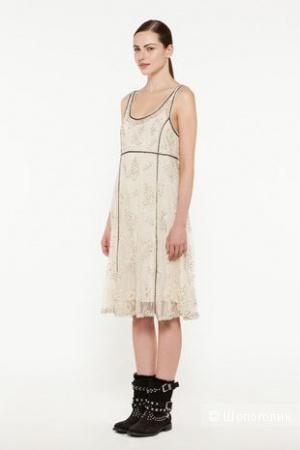 Очаровательное платье Twin-set Simona Barbieri из сетки, расшитой бисером, стеклярусом и шнуром.  Размер S на 44.