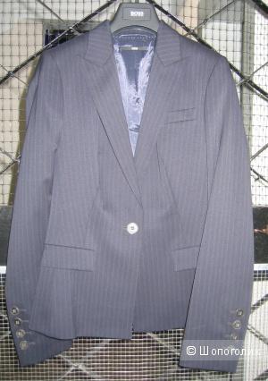 Новый шерстяной тёмно-синий брючный костюм Hugo Boss на р.42-44 (+1 в подарок)