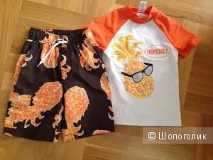 Пляжная футболка и шорты Gymboree 6-7 лет