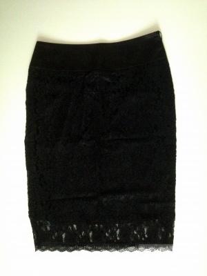 Черная юбка-карандаш кружевная, размер 44