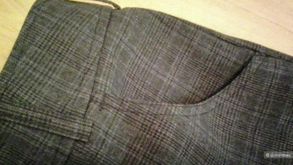 Классические прямые брюки в клетку 48 размера