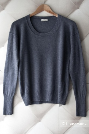 Кашемировый джемпер Wrap London синего джинсового цвета, oversize, размер 10(UK).
