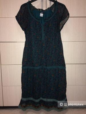 Шифоновое зеленое платье на подкладе 46-48разм.