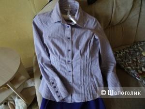 Рубашка приталенная в бело-фиолетовую полоску, размер 40-42, б/у